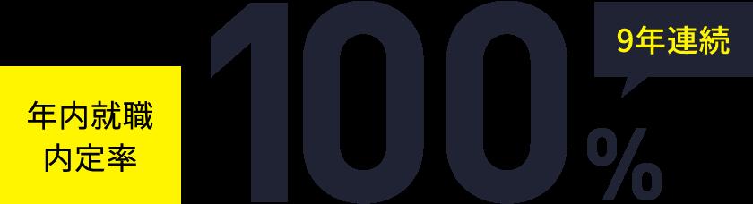 年内就職内定率 9年連続100%